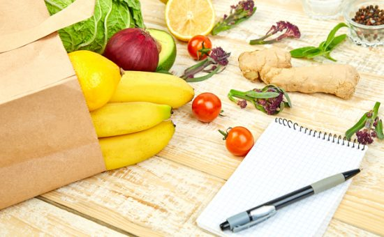 Holiday Meal Planning. Vegetables and fruits