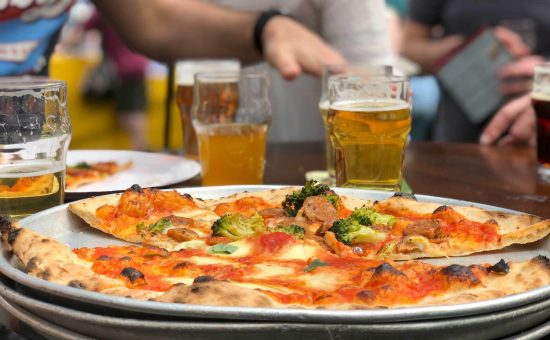 healthy pizza and beer